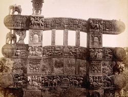 Rear view of eastern gate of Sanchi Tope